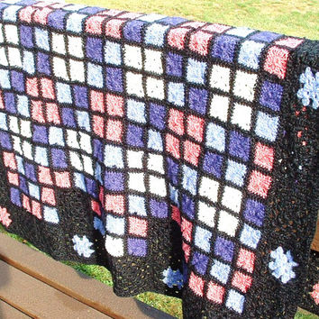 Crochet Granny Square Afghan Stained Glass Lap Throw Purple Pink Blanket