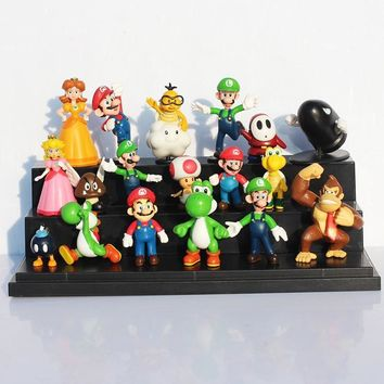 Super Mario party nes switch 18pcs/lot  Bros  Yoshi Luigi  Toad Princess Peach Daisy Shy PVC Figures Toys For Children AT_80_8