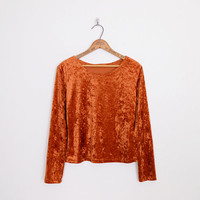 pumpkin orange velvet top, crushed velvet top, 90s velvet top, crushed velvet shirt, 90s velvet shirt, 90s top, 90s grunge top, gypsy top m