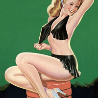 Pin Up Art Blonde On Settee With Black Poster