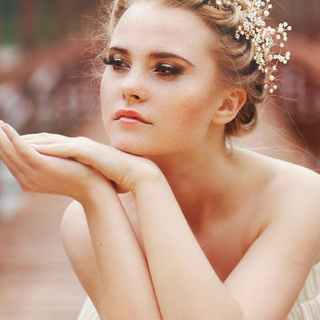 Bridal Headpiece, Wedding Hair accessory, Bridal Adornment, Beaded headpiece, Bridal comb, Pearl bead headpiece with gold twigs, Style 530