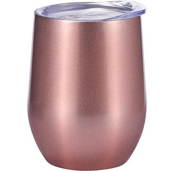 Skylety 12 oz Doubleinsulated Stemless Glass Wine Tumbler Stainless Steel Tumbler Cup with Lids for Coffee Drinks Champagne Cocktails White