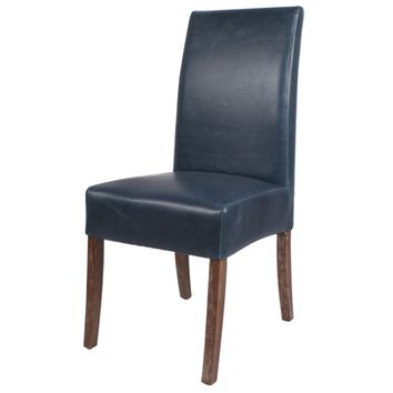 Valencia Bonded Leather Chair Drift Wood Legs, Vintage Blue (Set of 2)