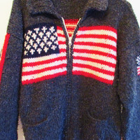 Vintage Retro Heavy Knit American Flag Hand Knit Cardigan Sweater
