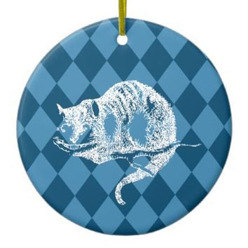 Cheshire Cat Wonderland Blue Christmas Ornament