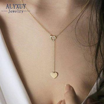 New fashion trendy jewelry copper heart chain link necklace gift for women girl N2123