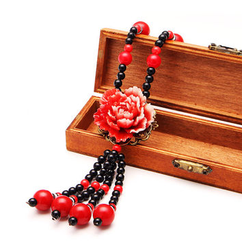 Ethnic Imitation Jade Flower Resin Paint Beads Necklace Jewelry