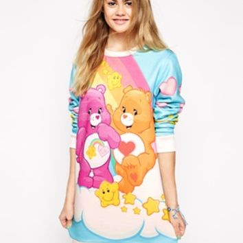 Ichiban Sweat Dress With Rainbow & Hearts Care Bear Print