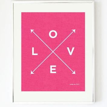 Love X Type Print - Hot Pink - Linen - Nautical - Girls Nursery - Beach - Pink - Valentine - Arrows