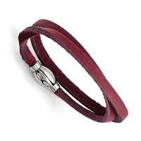 Men's Stainless Steel Polished Purple Leather Wrap Bracelet