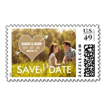 Burlap Heart | Rustic Save the Date Stamp