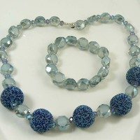 Sugar Bead Faceted Glass AB Crystal Midnight Blue and Gray Necklace Bracelet Set