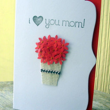 I Love You Mom Card /Happy Mother's Day /valentines card Handmade Card by Arleendesign