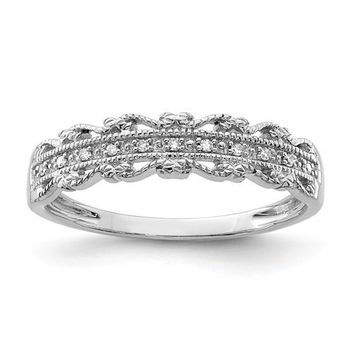 Sterling Silver Filigree Edge Diamond Band