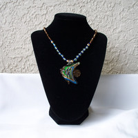Glass Beaded Necklace with Fish Pendant