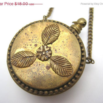 SALE Vintage Perfume Bottle Pendant Necklace - Boho