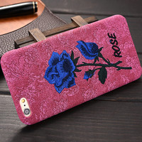 Retro 3D Art Print Embroidered Roses Phone Case For Apple iPhone 6 6S 4.7 Brandnew Hard Protective Cover Lady Woman Embroidery