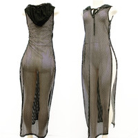 Net Hoody Maxi Dress w/Slits