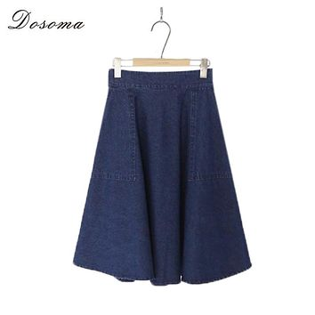 Spring Denim Skirt Women 2017 Korean Style Fashion High Waist Denim Skirt Slim Jean Skirts A-line Vintage Midi Skirt Faldas