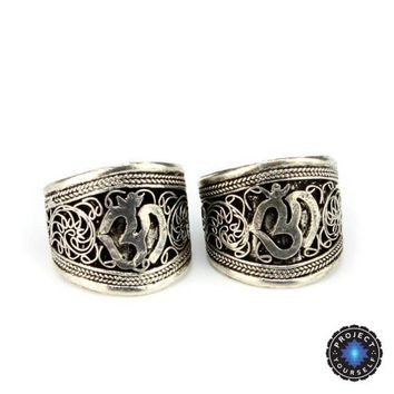 Tibetan Intricate Silk Flower Om Mantra Silver Ring