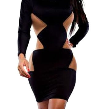 Black Side Geometric Print Long Sleeve Bodycon Dress