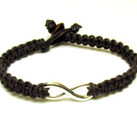 Bracelets for Couples or Best Friends, Dark Brown Infinity Hemp Bracelet, Made to Order