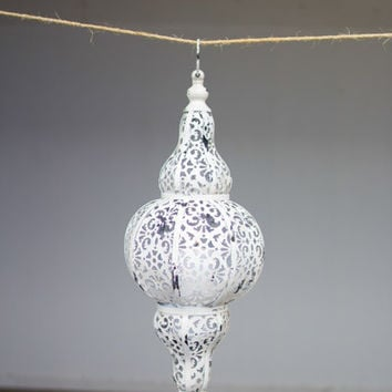 Punched Metal Hanging Lantern - Antique White