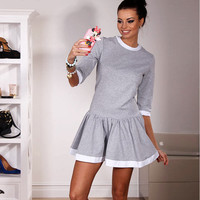 Gray Contrast Pleated Dress