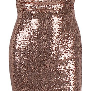 Elena Sequined Bustier Body-con Dress - Gold