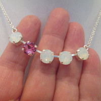swarovski adjustable 5 stone breast cancer awareness necklace in silver with white opals and one pink stone. #232