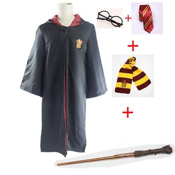 Cool Cosplay Costumes Harri Potter Robe Cape with Tie Scarf Wand Glasses Ravenclaw Gryffindor Hufflepuff Slytherin Robe CloakAT_93_12