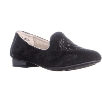 White Mountain Peak Emroidered Slip On Loafers, Black, 5.5 US