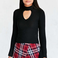 Silence + Noise Keyhole Sweater-Knit Mock-Neck Top - Urban Outfitters