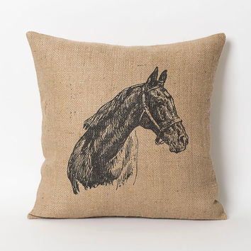 Horse Pillow - Decorative Throw Pillow Cover - 16x16 Horse Sketch Burlap Pillow Covers - Burlap Art Print
