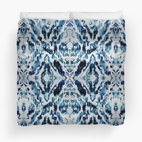 'Peacock Tie-Dye Damask' Duvet Cover by Nina May