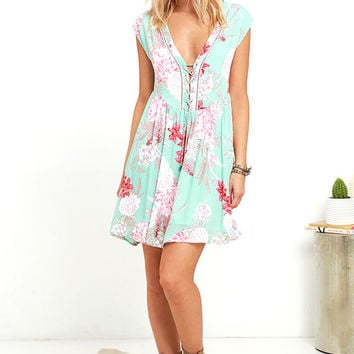 Mink Pink Backyard Bliss Mint Green Babydoll Dress