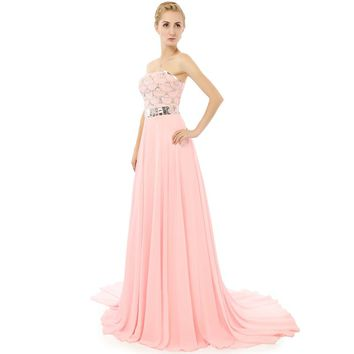 Chiffon Beaded Long A Line Strapless Pink Evening Dresses Backless Court Train