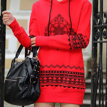 Casual Style Hooded Long Sleeve Ethnic Print Pullover Hoodie