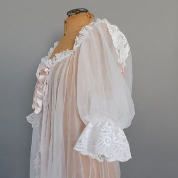 Vintage 1960s Frilly White Pink Semi Sheer Lace Robe Lingerie Teddy Mad Men Pin Up Girl Boudoir Wedding Night Victorian Clara Nutcracker
