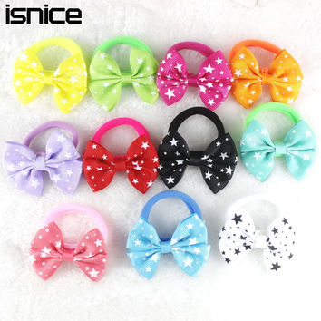 10pcs Candy Color 2 inch Flower Hair Bow Rubber Band Elastic Hair Bands Girl Tie Gum hair accessories women Headwear hair clip