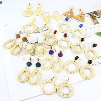 2018 New Korea Handmade Wooden Straw Weave Rattan Vine Braid Geometric Big Circle Square Drop Earrings For Women Jewelry Gifts