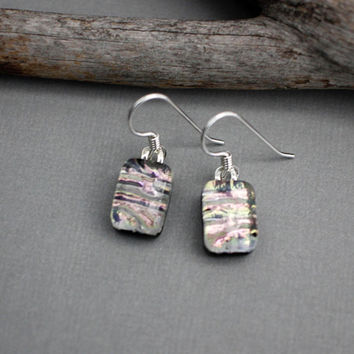 Pink Dangle Earrings -  Unique Earrings - Birthday Gift For Friend - Fused Glass Earrings - Dichroic Glass Jewelry
