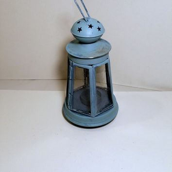 Buoy Candle Holder Vintage Blue Metal Buoy Small Lantern Beach Coastal Decor Nautical Nursery