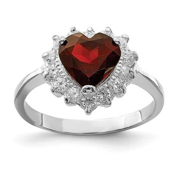925 Sterling Silver Rhodium-plated Garnet and Cubic Zirconia Ring