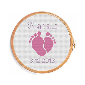 Newborn / Digital personalized pattern for cross stitch