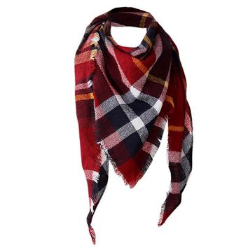 Winter Scarf 2017 Tartan Cashmere Scarf Women Plaid Blanket Scarf New Designer Acrylic Basic Shawls Women's Scarves and Wraps #9