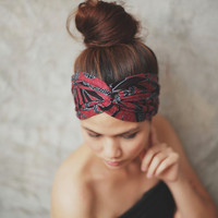Black Friday to Cyber Monday SALE/Aztec, Turban Twist Headband - Black and crimson aztec print