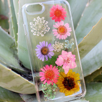 Hand Selected Natural Dried Pressed Flowers Handmade on iPhone 5 5s Crystal Clear Case: High Fashion Accessories