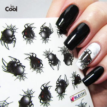 1sheet Halloween Spider Water Transfer Nail Art Sticker Watermark Decals DIY Tips Decoration for Beauty Nail Wraps Tools BLE1341