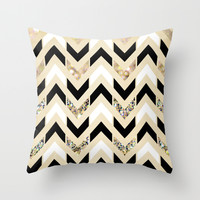 Black, White & Gold Glitter Herringbone Chevron on Nude Cream Throw Pillow by Tangerine-Tane